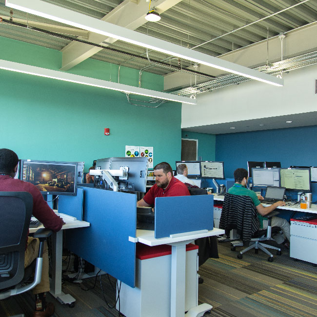 Image of GDIT integrated technology center where they create state-of-the-art information technology
