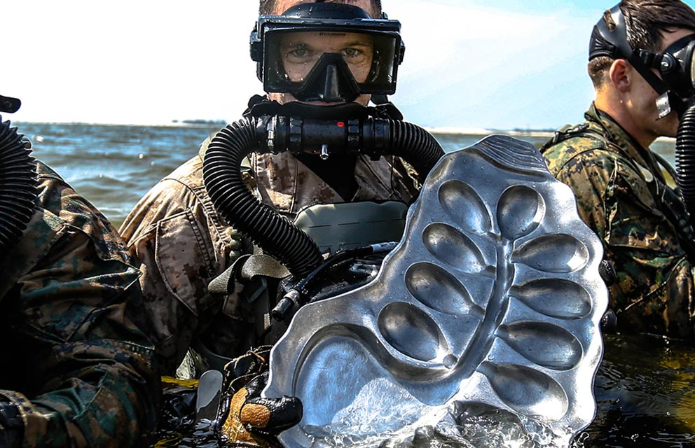 diver holding oyster bed
