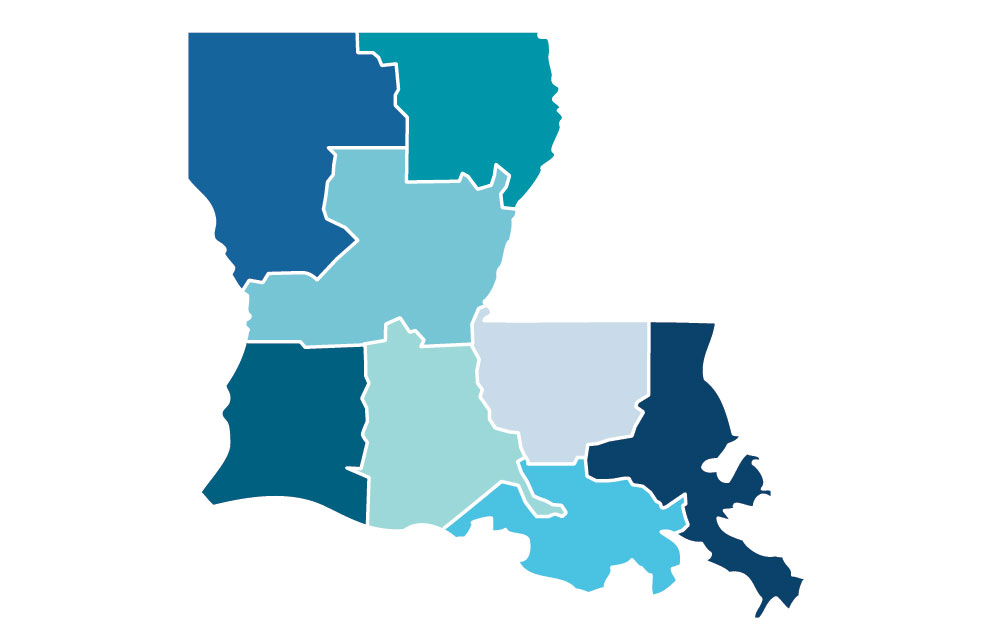 Louisiana map of Small Business Resources by Region